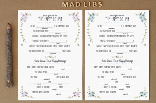 rustic design wedding madlibs