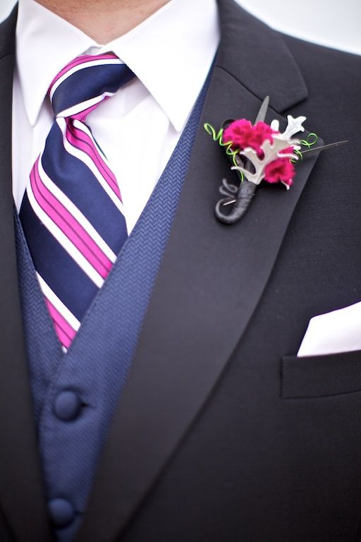Hot Pink and navy dusty miller boutonniere