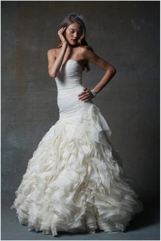 wedding dress basque waist ruffles gown isabelle armstrong