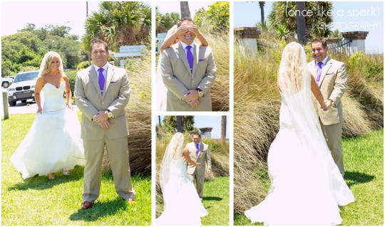 first look saint simons island wedding