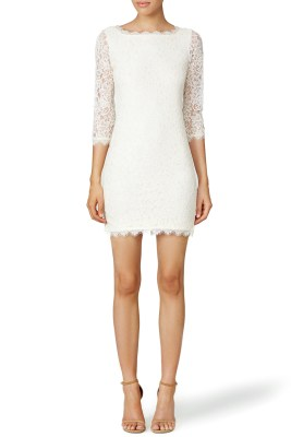 diane von Furstenburg rehearsal dinner dress lace white