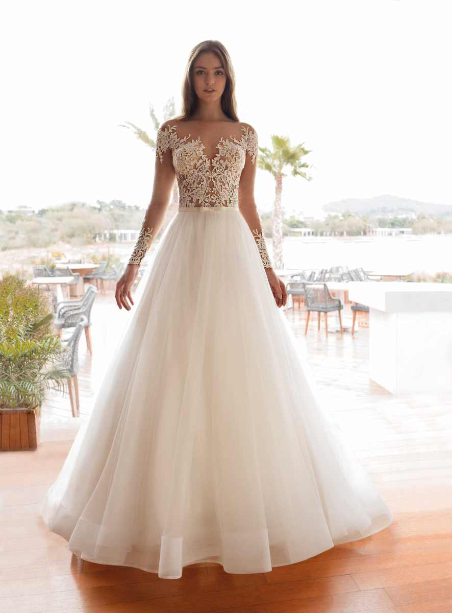 Wedding Dress with Sleeves by Demetrios
