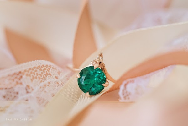 ethically sourced stone in bride's ring designed by her groom