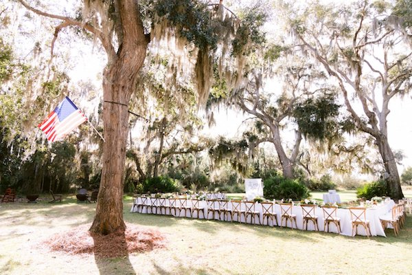 Outdoor wedding reception on the lawn at Captain's Bluff on Saint Simons Island
