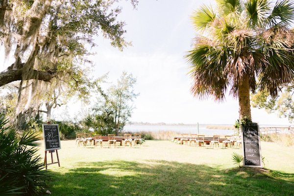 rustic outdoor wedding ceremony at Captain's Bluff in Saint Simons Island