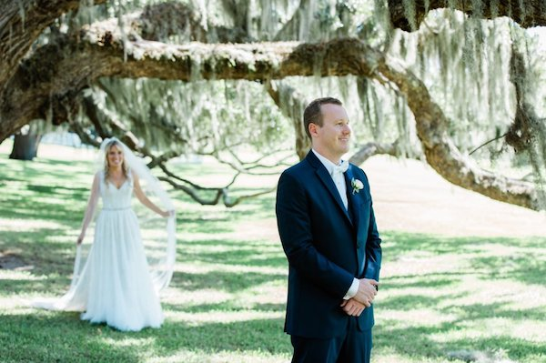 bride seeking up on her groom at Jekyll Club Hotel