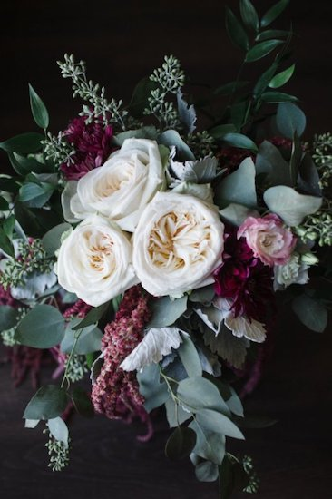 bridal bouquet of greenery, white garden roses and burgundy flowers including hanging amaranthus