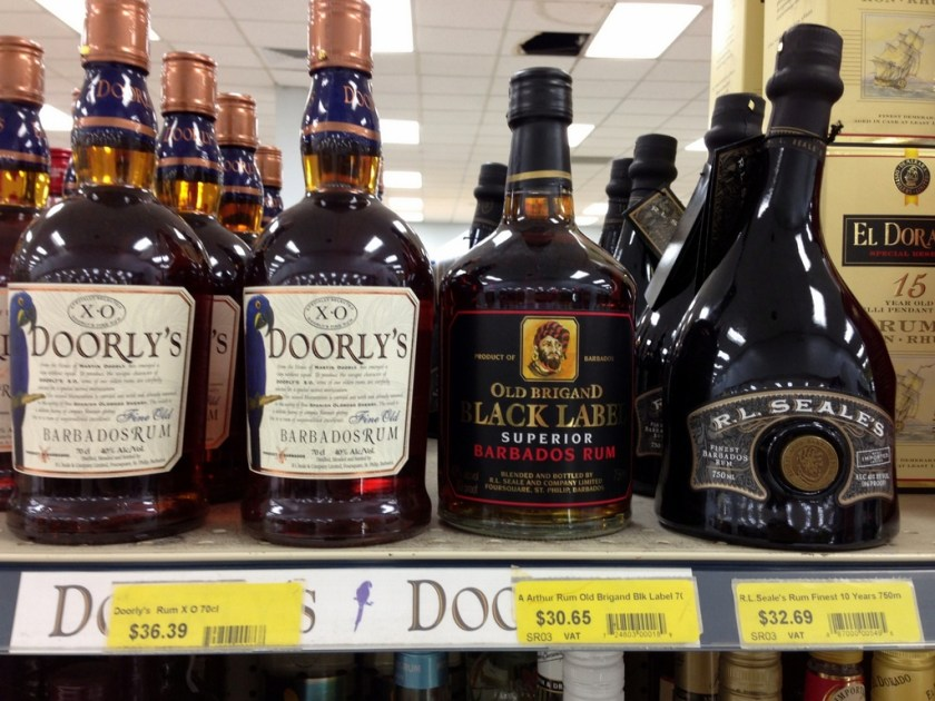 Great prices on Bajan rum at the Barbados grocery store