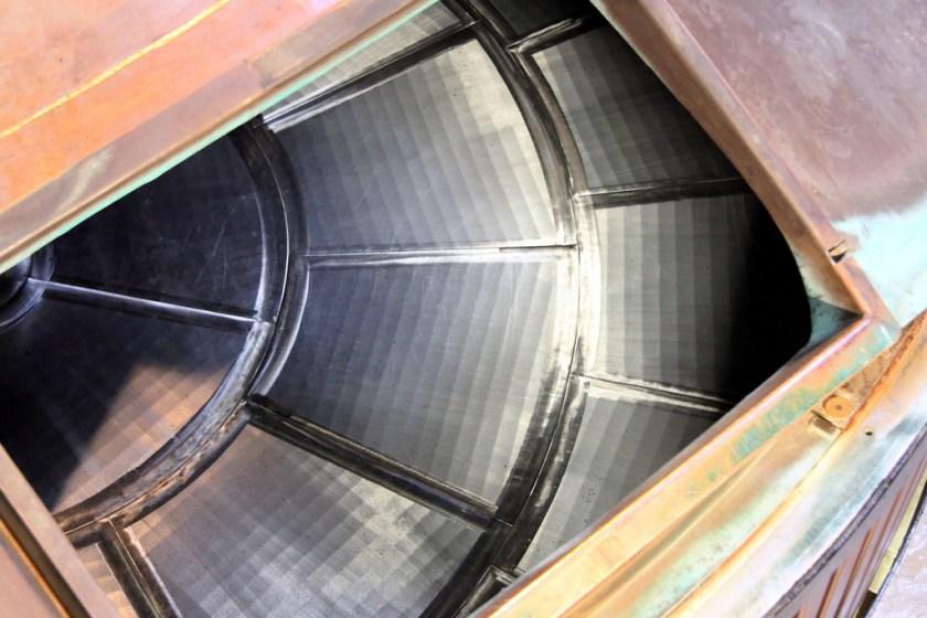Mash tun at Bowmore showing drainage slots