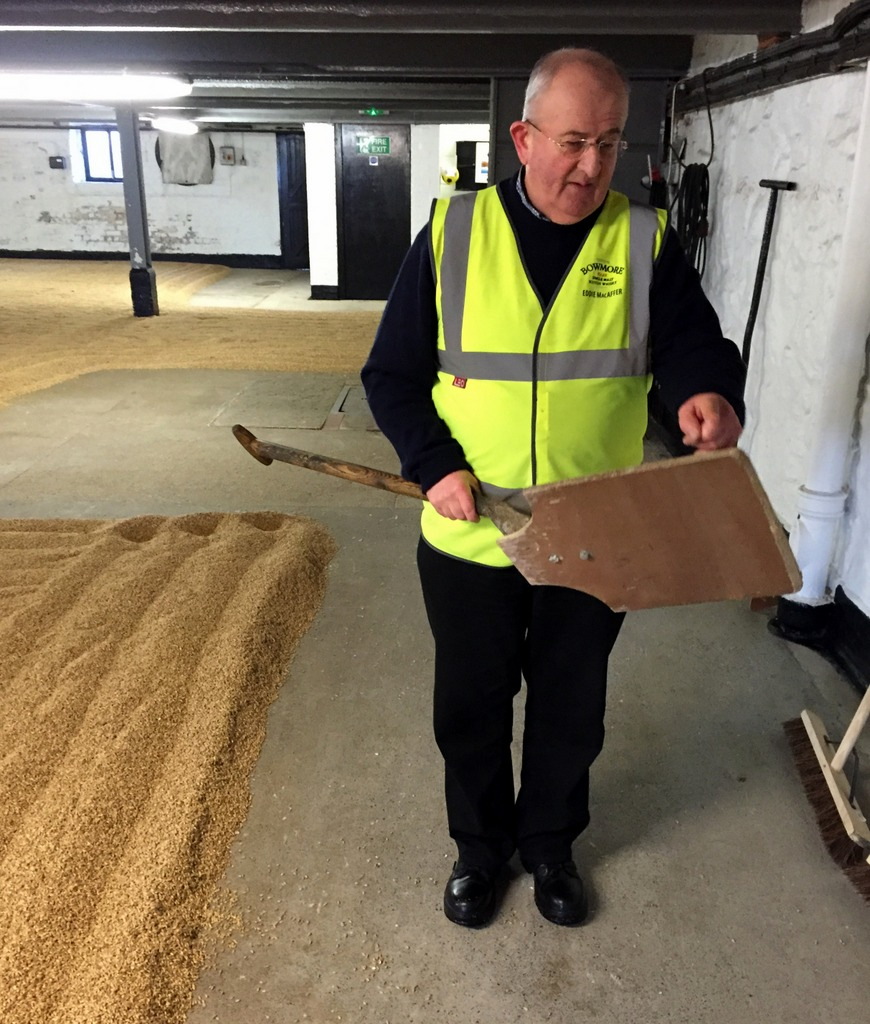 Eddie Macafter at Bormore explains a malt shovel