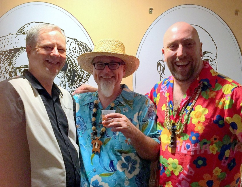Cocktail Wonk, Jeff Berry and Martin Cate at Plantation OFTD launch at Tales of the Cocktail 2016.