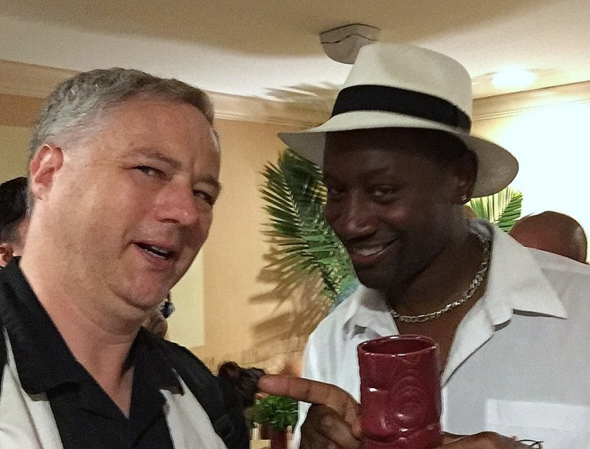 """Cocktail Wonk and Ian """"Rum Ambassador Burrell at the Plantation OFTD launch at Tales of the Cocktail 2016."""