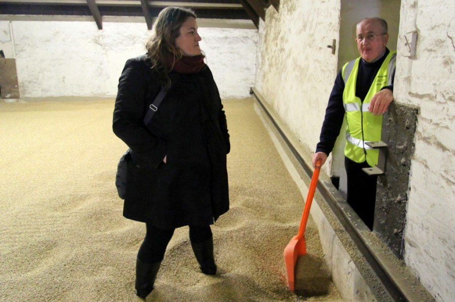 Mrs. Wonk and Eddie MacAffer in the drying room, Bowmore