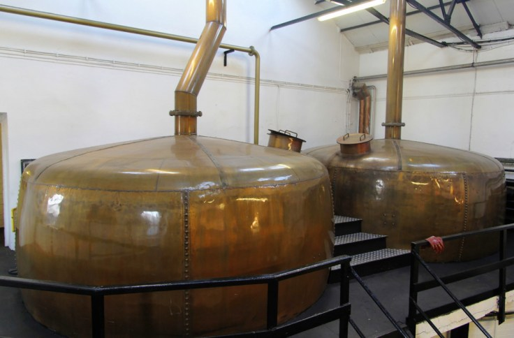 Copper tanks in mash room, Bowmore distillery