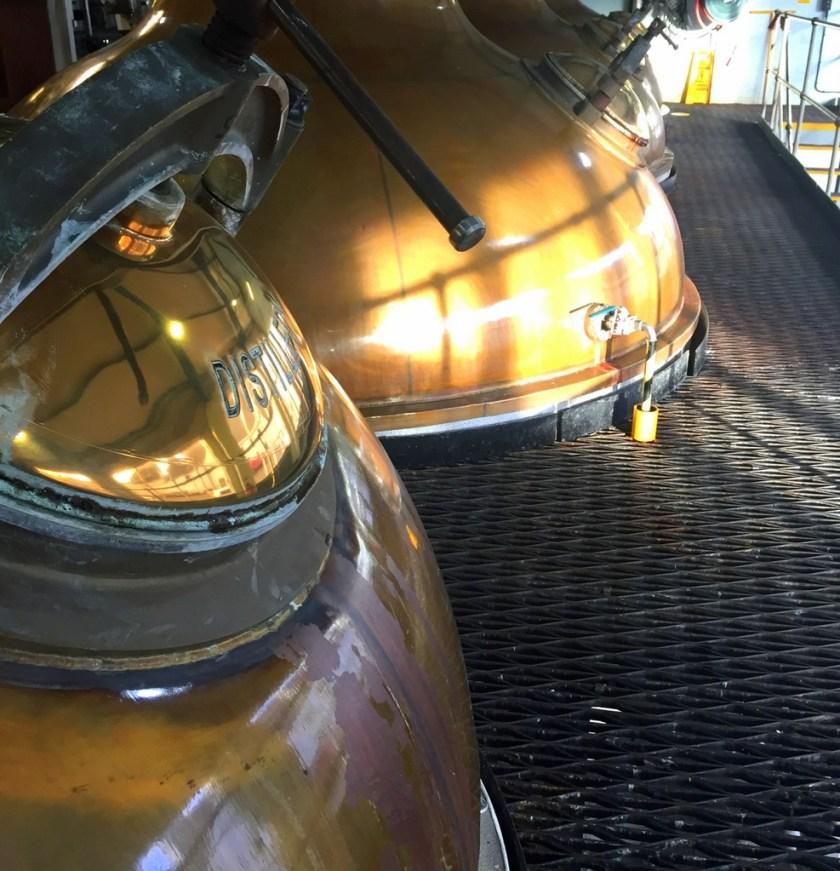 Pot stills at Laphroaig distillery