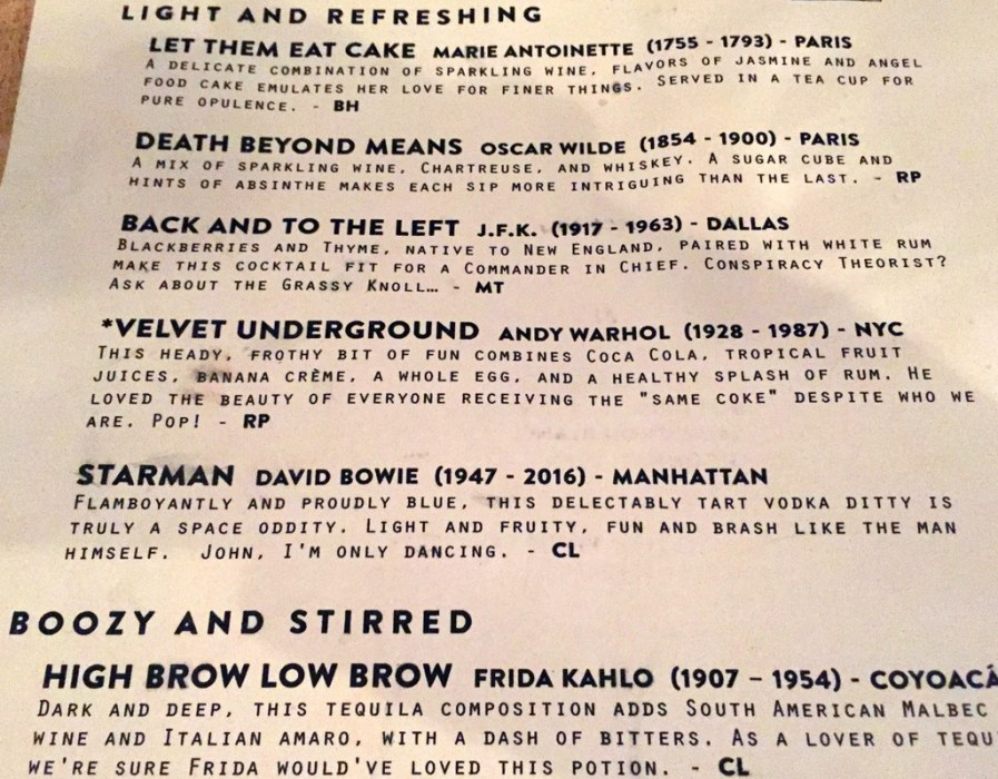 Libertine cocktail menu, Indianapolis