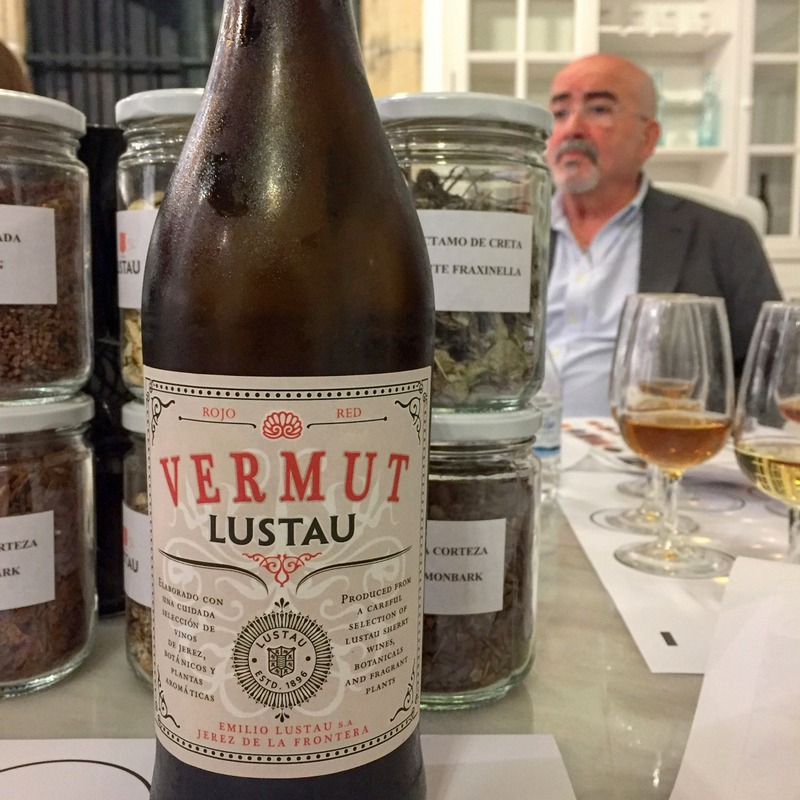 Fernando Perez with the Lustau vermut (vermouth) he worked on for five years.