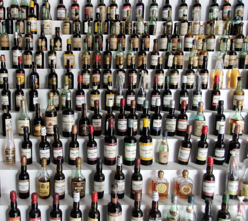 Old mini bottles at González Byass