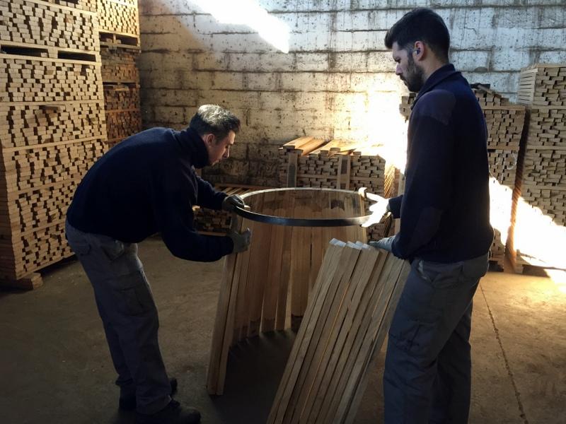 Initial cask assembly, Antonio Páez Lobato cooperage