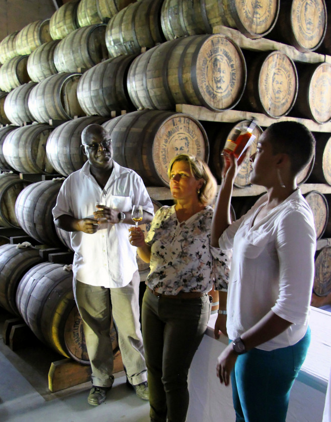 Robert Peronet, Gaelle Hardy, and Clemént estate tourism director at Clemént estate, Martinique