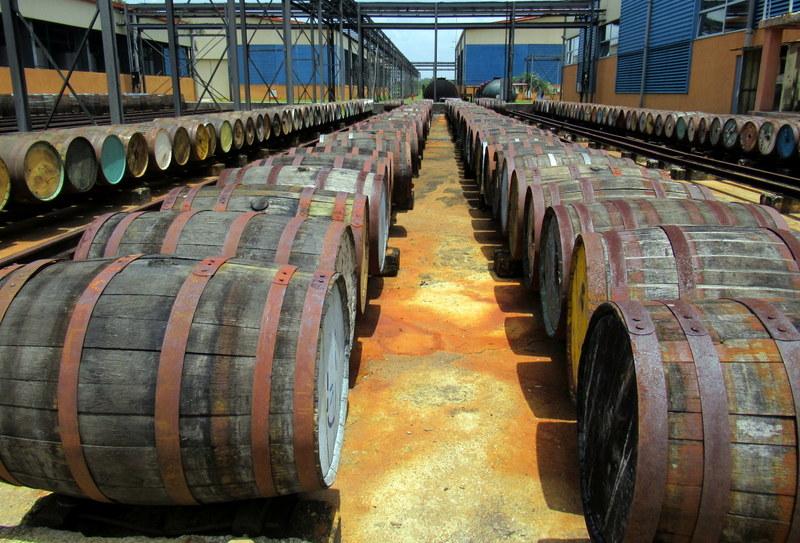Used barrels at the Havana Club San Jose distillery