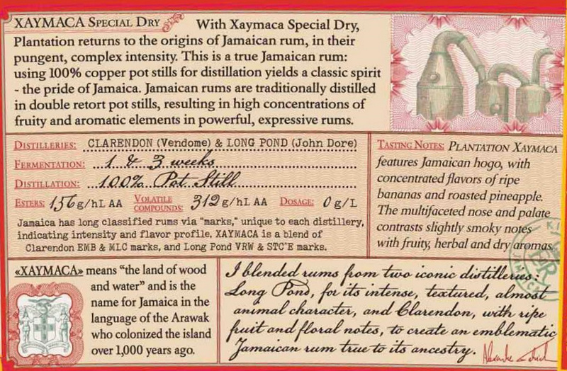 Plantation Xaymaca back label