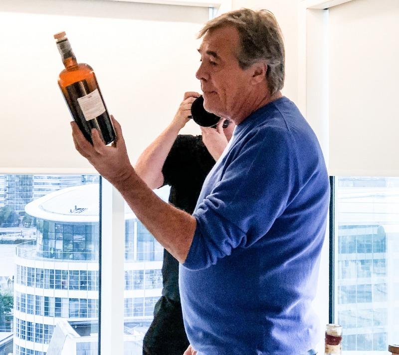 Luca Gargano with bottle of Velier 1978 Skeldon