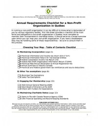 Annual Requirements Checklist for a Non-Profit ...