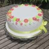 Blossom Party Cake with Piped Swags & Handmade Sugar Blossoms by Cocoa & Whey Cakes in Winchester
