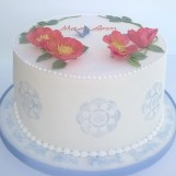 Wild Rose & Blue Stencil Birthday Cake by Cocoa & Whey Cakes in Winchester