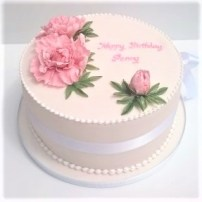 Pale Pink Birthday Cake with Handmade Sugar Peonies by Cocoa & Whey Cakes in Winchester, Hampshire