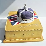 Gold Royal Birthday Cake with Edible Crown by Cocoa & Whey Cakes in Winchester