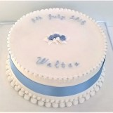 White & Blue Royal Iced Christening Cake with Piped Roses by Cocoa & Whey Cakes in Winchester