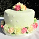Yellow Polka Dot & Sugar Roses Party Cake by Cocoa & Whey Cakes in Winchester