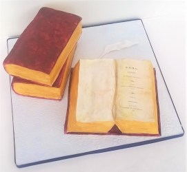 Stack of books party cake with Jane Austen's Emma book cake