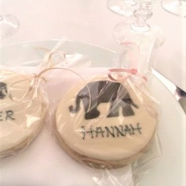Wedding Favours - Wedding Cookies iced in cream fondant with black animal silhouettes