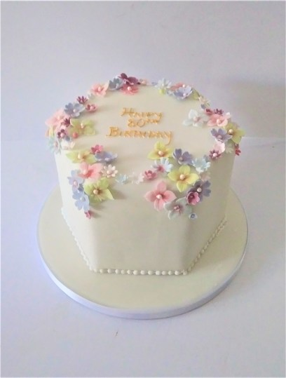 Floral Hexagon Birthday Cake with Hand Made Sugar Blossoms by Cocoa & Whey Cakes in Winchester