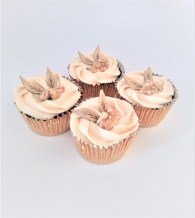 Photograph of Savoury Wedding Cupcakes by Cocoa & Whey Cakes in Hampshire with Walnut, Cheddar & Apple and Marsala Cheese Cream & Gold Dusted Walnut & Apple Leather Leaf Decoration