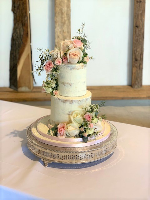 Semi-Naked Wedding Cake with Fresh Flowers at Clock Barn by Cocoa & Whey Cakes