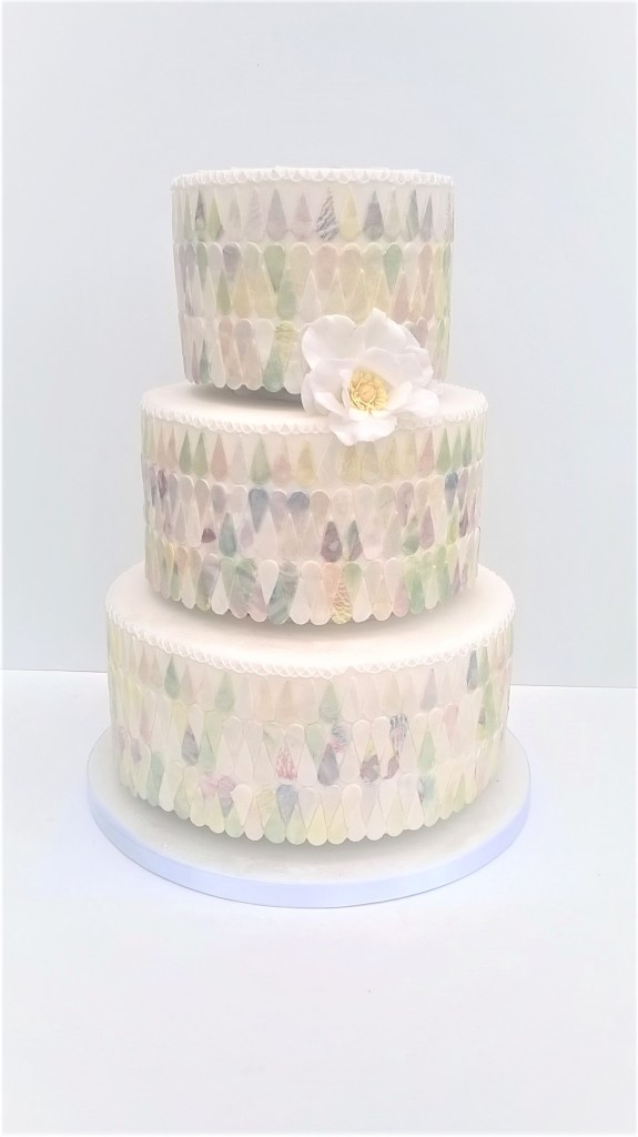 Mother of Pearl Mosaic Tile Wedding Cake by Cocoa & Whey Cakes