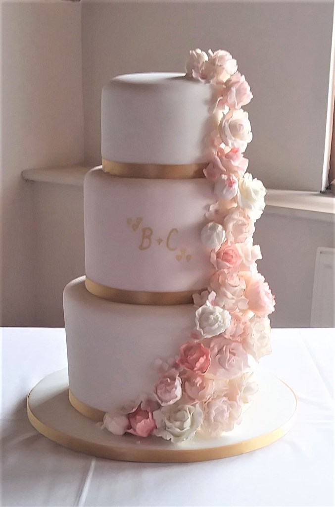 Pink Sugar Peony & Rose Cascade Wedding Cake by Cocoa & Whey Cakes