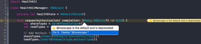 The @noescape attribute is deprecated in Swift 3.