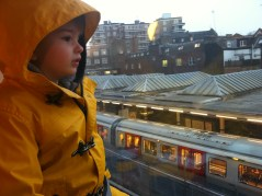 Watching the tube trains. Gabi's favourtite activity.