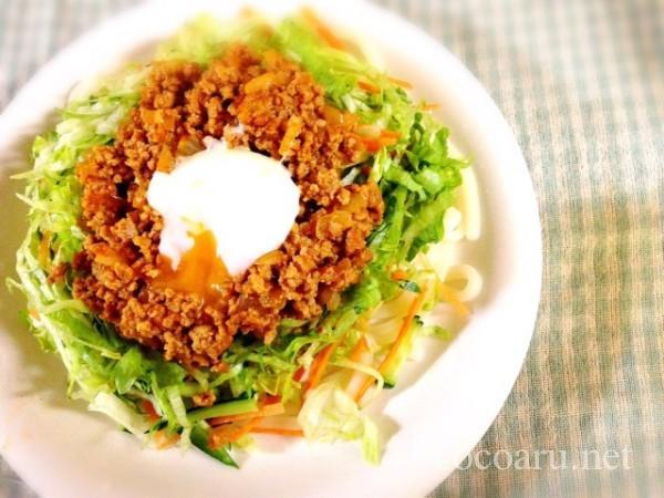 トマト味噌・作り方・簡単05肉味噌サラダうどん
