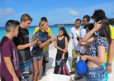 Chiara briefs guests and associates of Coco Bodu Hithi about the project