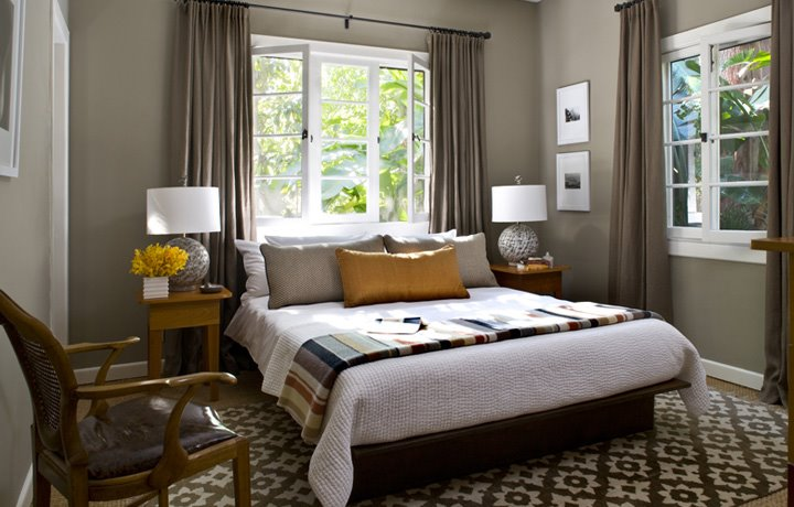 Room Of The Day Mustard Yellow Accents A Taupe Grey Modern Bedroom Cococozy