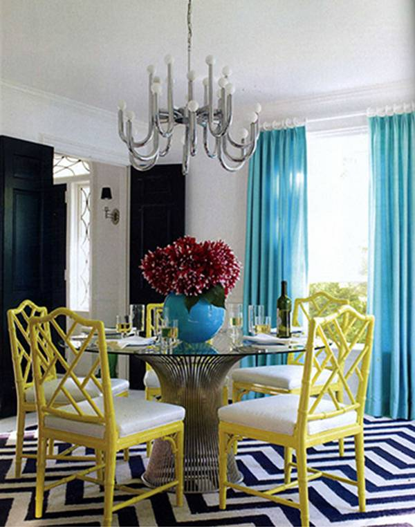 Dining Room With Mid Century Modern Platner Metal And Glass Table Turquoise Curtains