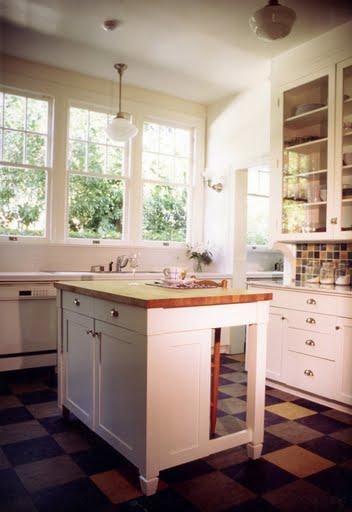 cute retro kitchen A CUTE RETRO KITCHEN WITH A COLORFUL LINOLEUM FLOOR
