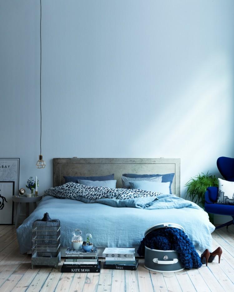 blue rooms bedroom low bed pendant light