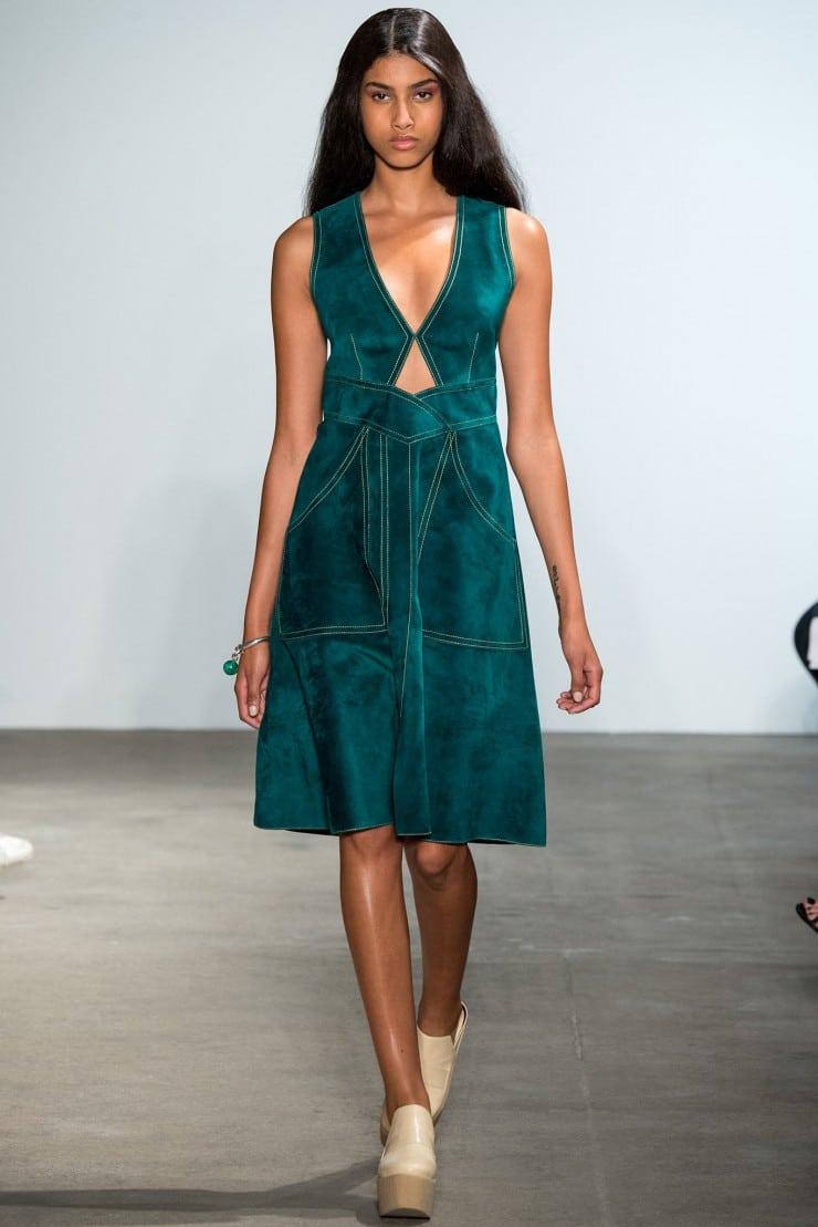 Best Dresses Teal Suede Dress Derek Lam